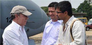 El alcalde de San Vicente y el gobernador de Caquetá recibieron al Presidente Santos.