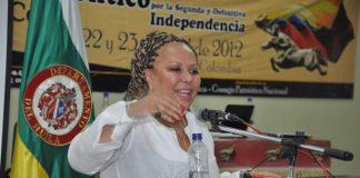 Piedad Córdoba en su visita ayer en Neiva presentando el Movimiento Político Independiente Marcha Patriótica en la Facultad de Salud de la Universidad Surcolombiana.