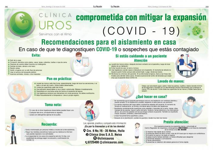 Clínica Uros comprometida con la expansión del Covid-19 1 30 marzo, 2020