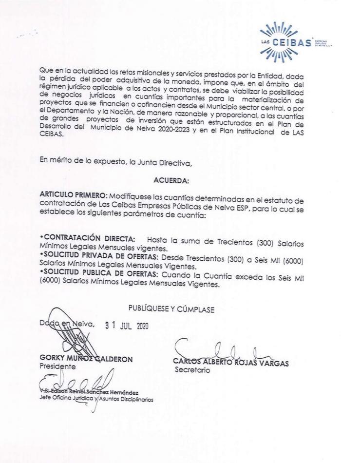 ¿Por qué Las Ceibas elevó los montos de contratación? 8 26 septiembre, 2020