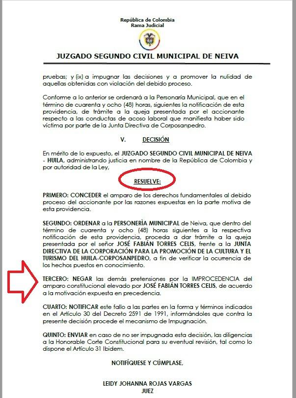 Ex director de Corposanpedro perdió tutela para 'atornillarse' en el cargo 8 16 noviembre, 2020