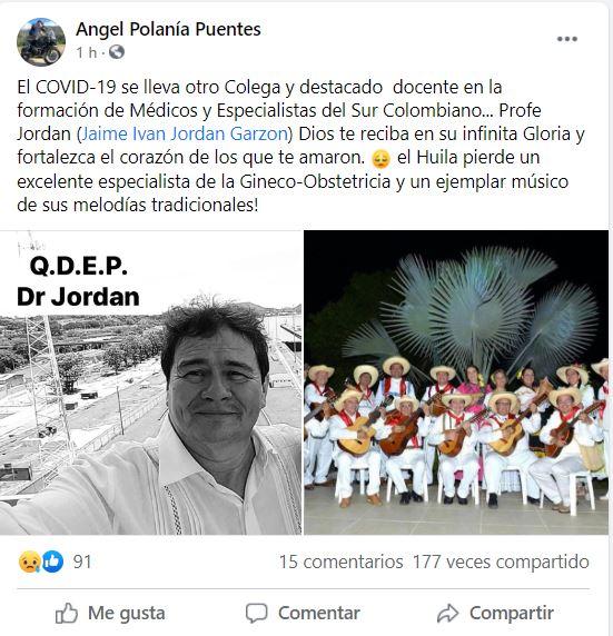 COVID-19 arrebató la vida de otro médico del Huila 14 10 enero, 2021