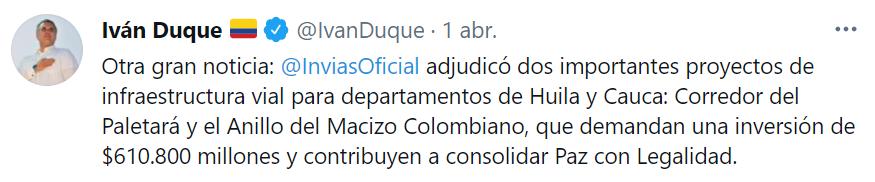 Adjudicados proyectos de infraestructura vial en Huila y Cauca 11 3 abril, 2021